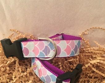 Dog Collar- mermaid scales- handmade