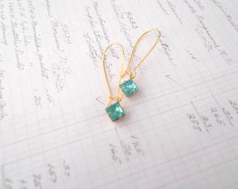 Dainty Aqua Earrings, Delicate Earrings, Aqua Blue Bridesmaid Earrings, Gold Plated, Simple Earrings, Pisces