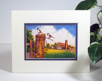 """Unframed, """"Fence Post Chickadees"""" art print, great piece for contemporary country wall decor"""
