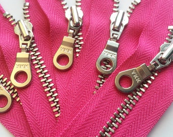 YKK Metal Zippers with Silver Nickel Teeth and Donut Style Pull- (5) pieces - Hot Pink 516- Available in 4 or 10 inch
