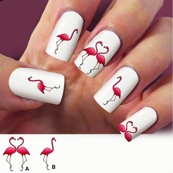 Flamingo nail decals, birds, nail art, Nail Art design, Water Slide nail  Decals,#FL002 set 60pc - Flamingo Nail Decals, Birds, Nail Art, Nail Art Design, Water Slide