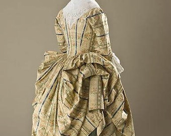 Georgian 18th century petticoat & polonaise gown, pure quality silk, museum replica, made to measure.