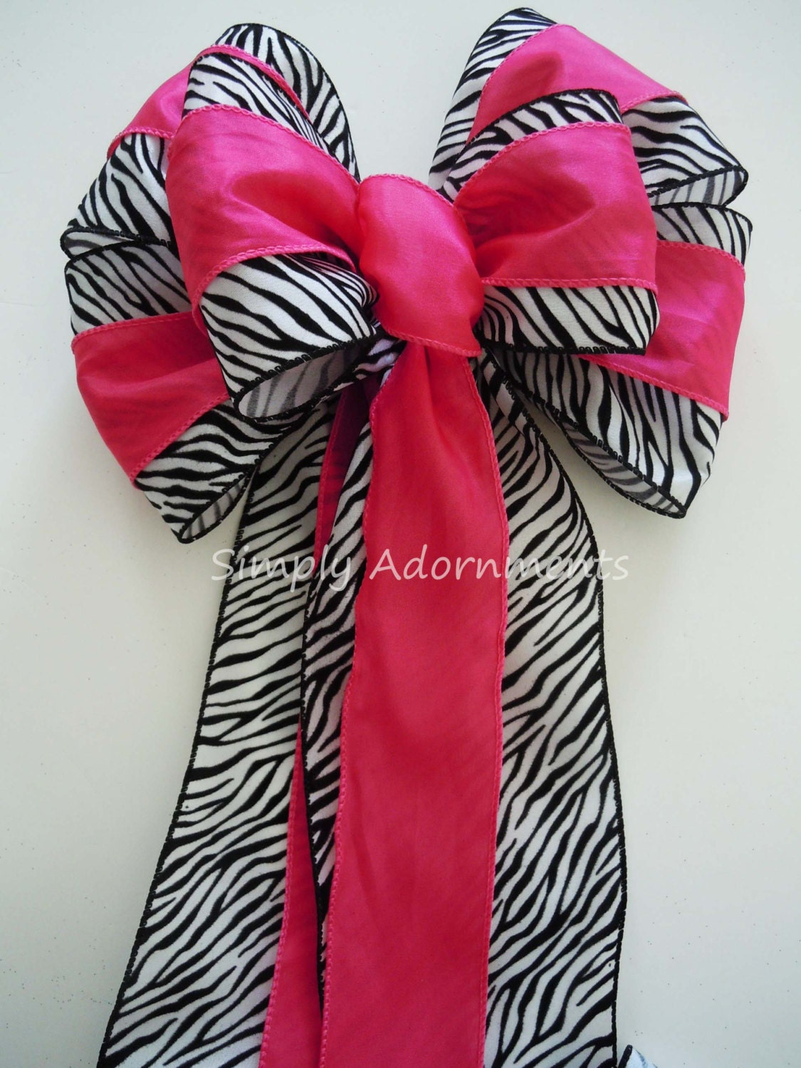 Pink Zebra Birthday Party Decor Hot Christmas Tree Topper Decoration Wedding Pew Bow Animal Theme Gift