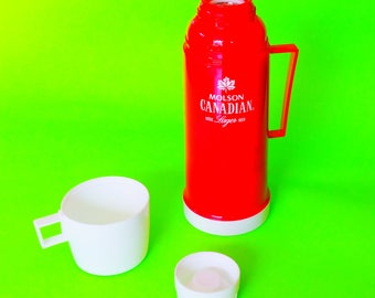 Molson Canadian Lager Beer Brand Red and White Cooler Thermos Picnic Time Summer Swag Promotional Vintage Thermos