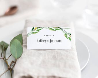 Green Foliage Printable Wedding Place Cards Template - Wedding Escort Cards - Greenery Seating Cards Instant Download - GREEN FOLIAGE #GFC