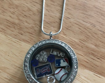 Atlanta Braves baseball floating charm necklace! Free shipping!