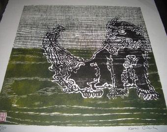 Okinawa Ryukyu Shisa Japanese Guardian Lion hand carved woodblock print moku hanga signed Kevin Clark