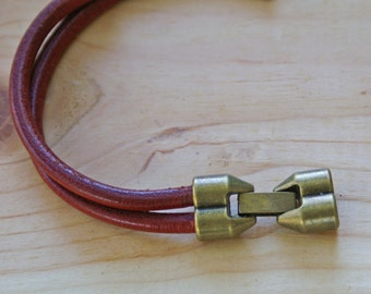 Antique Brass ROUND 5mm DUO Latch Snap Leather Clasp for 5mm leather or 2mm leather / 1 set Leather Closure