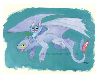 Toothless and Stitch 'Joy Ride' - 5x7 inch print