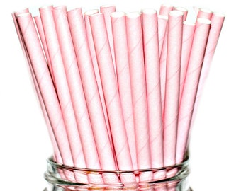 SOLID PINK STRAWS- Paper Straws Baby Bridal Wedding Shower-  (25)