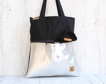 Tote bag *with zippper-bag S.I.L.V.E.R. // black