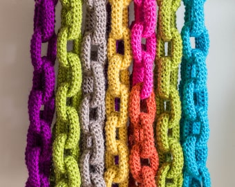 Chain Link Scarf Crochet Pattern - Crochet Scarf Pattern - Crochet Cowl Pattern - Statement Necklace