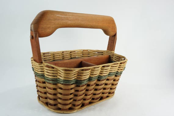 Mixon Family Basket, Foxcreek Basket Co, Caddy Basket w/ Handle, Handmade Handled Basket, USA Made Baskets, Mahogany Baskets, Free Ship
