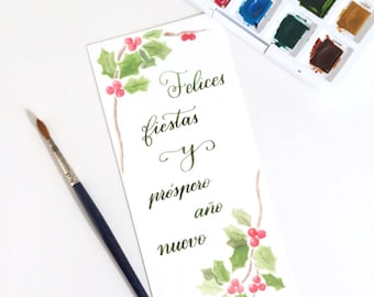 Downloadable Christmas postcard to congratulate your friends and family. Hand painted with watercolors.