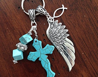 Keychain, Christian Keychain, Cowgirl Keychain, Turquoise Cross Keychain, Angel Wing Keychain, Cross Key Chain with Angel Wings Charm