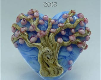 BLUE & PINK BLOSSOM Tree Heart – Lampwork Heart Focal Bead - Pendant Handmade Jewelry Supplies - by Stephanie Gough sra fhfteam leteam