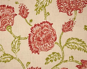 Custom Pillow Cover / Agathe Floral by Duralee Home in Coral / Red Green / Both Sides / Made to Order