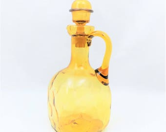 Blown Glass Decanter, Amber Thumbprint, Decanter with Stopper, Decanter with Handle