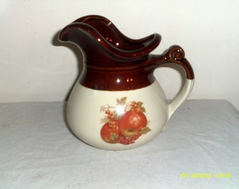 1960s McCoy Pottery Pitcher no. 7515- Apples and Grapes, Pottery Pitchers, McCoy Pitchers, Brown Pottery Pitchers, Apple Pitchers
