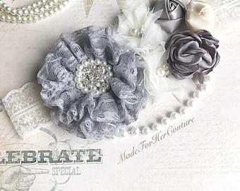 Lace Ivory flower sash, gray ivory flower wedding belt Sash, lace flower bridal sash, lace Bridal Belt, lace Maternity Sash,