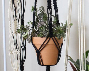 Macrame Plant Hanger | Black Cotton Rope | 3 Strand Indoor Hanging Planter | Plant Pot Holder | Boho Decor