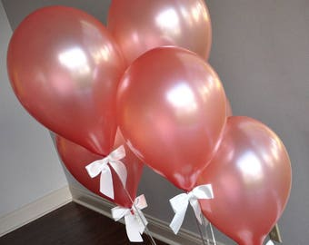 Rose Gold Balloons. Crafted in 2-5 Business Days. Winter Onederland Party Balloons. Rose Gold Balloons with White Bows 8CT + Curling Ribbon