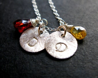 custom Lil Us Sterling silver scratched texture hand stamped initial necklace with birthstones couples mommy best friend sister necklace