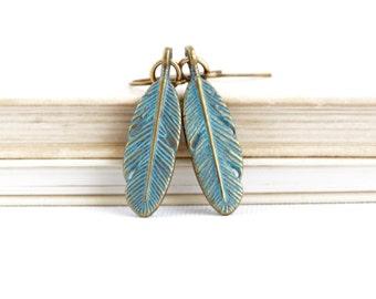 Mothers Day Gift - Boho Earrings - Woodland Earrings - Feather Earrings - Rustic Earrings - Feather Jewelry - Dangle Earrings - Gift For Her