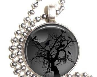 Ravens Crows and Moon Art Pendant, Black Birds on a Tree Photo Pendant, Earrings and/or Keychain Round, Silver and Resin Charm Jewelry