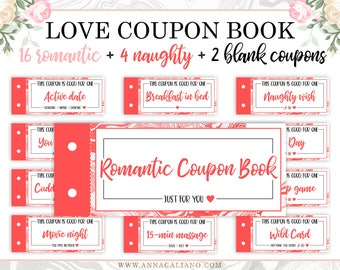 Love Coupon Book, Boyfriend Gift, Love Coupons For Him, Printable Coupon Book, Anniversary Gifts, Gift for Him, Gift for Her, Birthday gifts