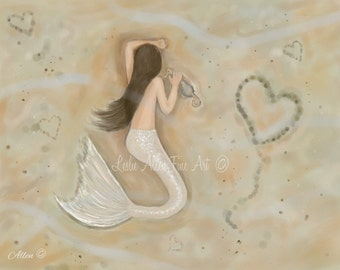 "Mermaid Art Kid Wall  Art Print Mermaid Painting Mermaids Nursery Art  ""Sweet Sleep Under The Sea""  Wall Art Mermaid Painting Seascape Ocean"