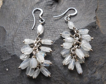 Moonstone cluster earrings