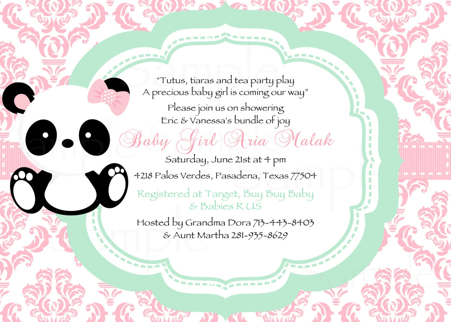 Girl Baby Panda Pink Damask and Mint Green Baby Shower