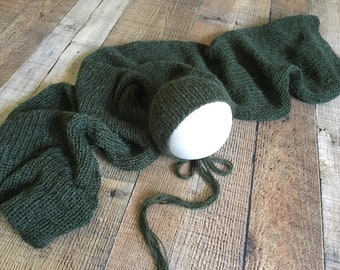 Hand Knit Bonnet Wrap Brushed Mohair Dark Hunter Green Neutral Baby Boy Girl Newborn Photography Prop Set