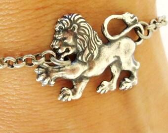 Lion bracelet de cheville, Bracelet de cheville, finition argent ou laiton vieilli