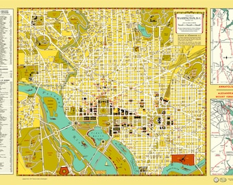 Washington DC 1947 Map Poster Vintage Capitol White House Mall Constitution Potomac Pentagon Government Library of Congress Senate Monument