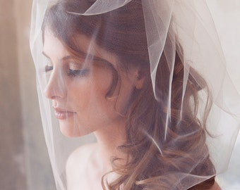 Birdcage veil, Tulle Veil, Bridal Illusion, Birdcage Veil, Blusher Veil, Bird Cage Wedding Veil, White, Ivory veil, Tulle Birdcage Veil