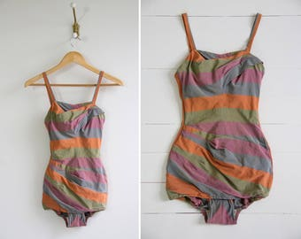 vintage 1950s swimsuit   rose marie reid   50s bathing suit   pinup swimwear one piece