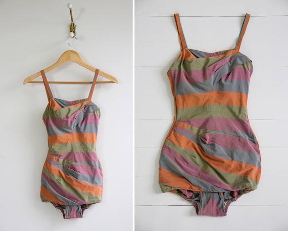 vintage 1950s swimsuit | rose marie reid | 50s bathing suit | pinup swimwear one piece