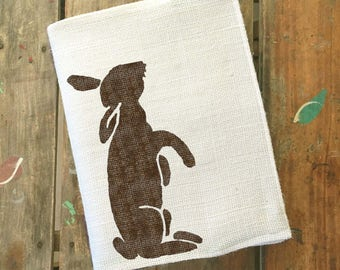 Le Lapin - Rabbit  - Burlap Journal Cover w. Notebook -  Rabbit Journal Bunny