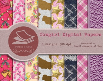 Cowgirl Digital Papers - 8 Designs 12x12in, 30x30 cm - Ready to Print - High Quality