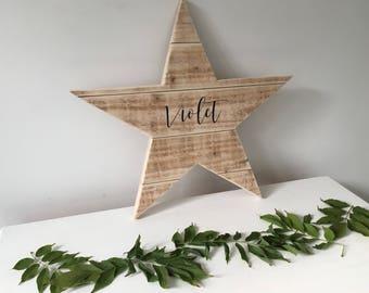 Wooden Star - Pallet Star - Reclaimed Wood Star - Christening Gift - Scandi Nursery decor-Childrens Name Gift- New Baby Gift-Christmas gift