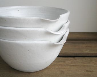 MADE TO ORDER Pouring Bowl - White Stoneware Mixing Bowl, Handmade Ceramics, Rustic Modern Pottery