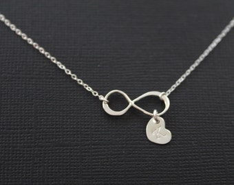 Personalized Infinity Necklace . Sterling Silver, Initial Necklace . Custom Letter. romantic birthday gifts,sweet gift ,Christmas gift ,mom