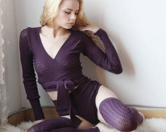 merino wool wrap shrug in pointelle lace  - ready to ship - size medium