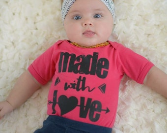 Made With Love Baby Bodysuit  - Available in various colors and Sizes