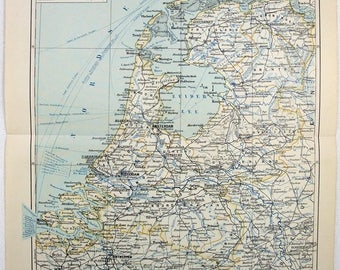 Netherlands. Original 1892 Map by Meyers. Holland Antique