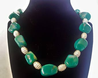 Faux Green Stone Beaded Polymer Clay Necklace
