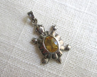 Sterling Silver Turtle Pendant with Citrine Stone