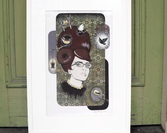 Giclee print by Andy McCready - 'BIRD'S NEST' - Limited edition, large, brown, green, glasses, hair. Prints by giltandenvy on Etsy.
